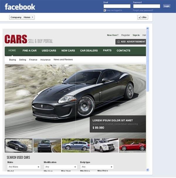 Портал по продаже автомобилей на фейсбуке
