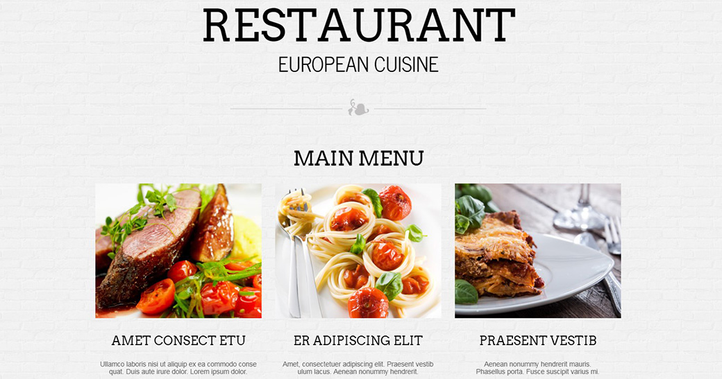 HTML шаблон сайта European Cuisine меню