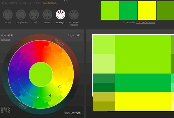 Сочетания цветов в дизайне сайта - аналоговая