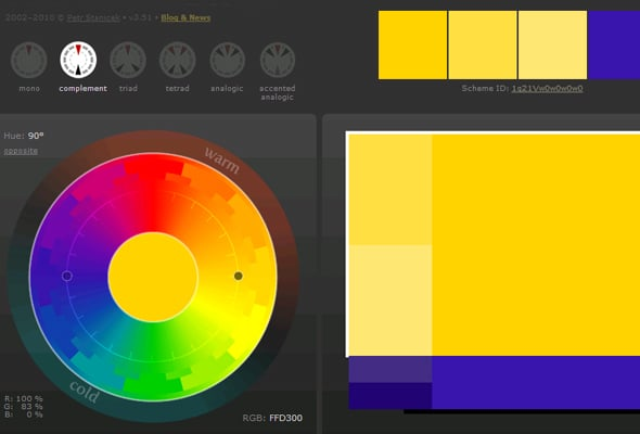 Сочетания цветов в дизайне сайта - комплементарная