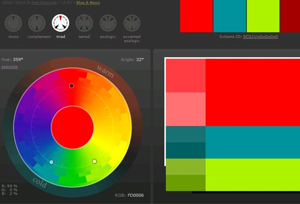 Сочетания цветов в дизайне сайта - Триадическая