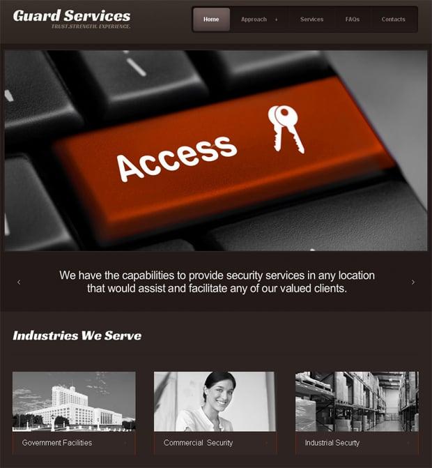 Шаблон сайта для охранной фирмы