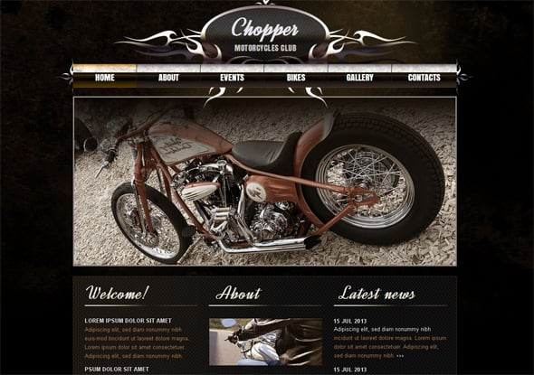 Motorcycle Website Template in Realistic Style