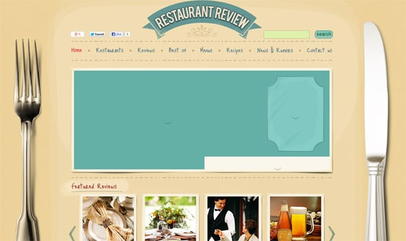 Realistic Style Web Template for a Restaurant