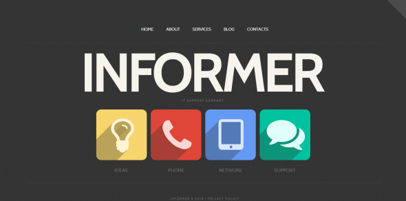 Website Template with Plain Icons