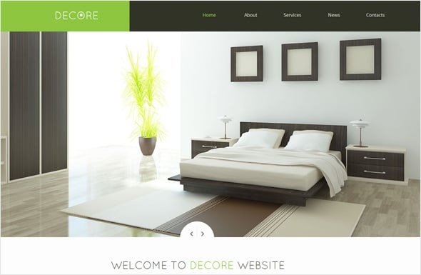 Decor Website Template with Calm Color Scheme