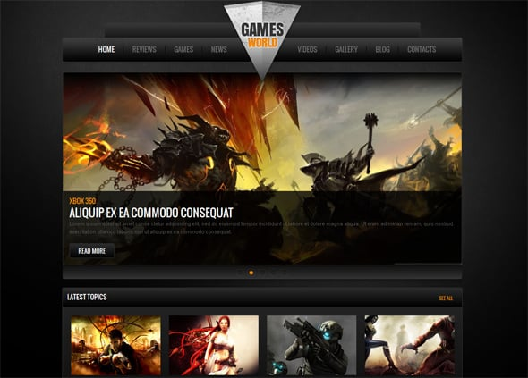 Video Games Black Website Template