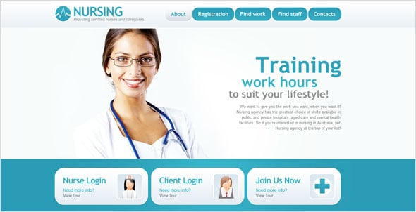 Nursing Website Design in Blue and White