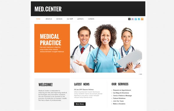 Neutral Website Template for Medical Centers