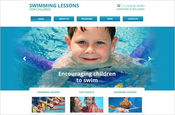 Web Template for Swimming School