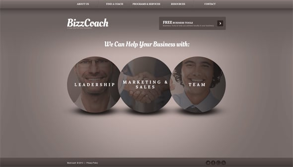 Business Web Template with Circle Elements
