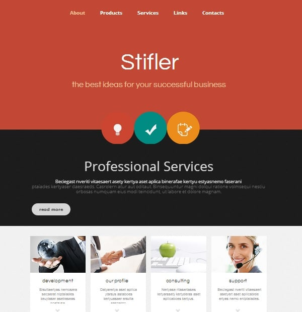 Accounting Website Templates in Contrast Colors