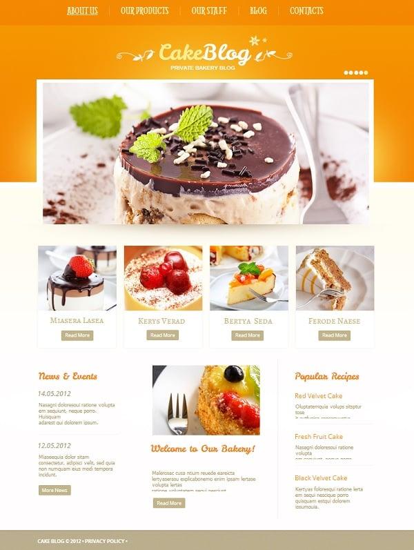 Cake Blog Website Template