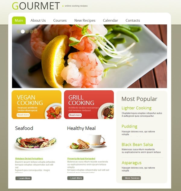 Cooking Website Template in Pastel Colors