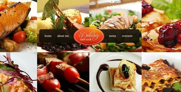 Cooking Website Template with Grid Layout