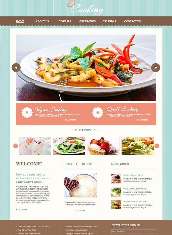 Cooking Website Template with Mint Background