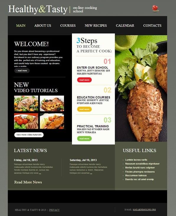 Dark Website Template for Cooking School