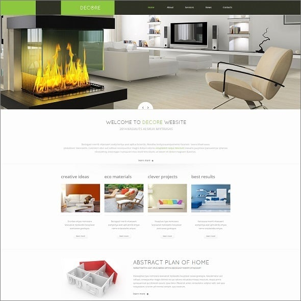 Decor Website Template with Visual Content