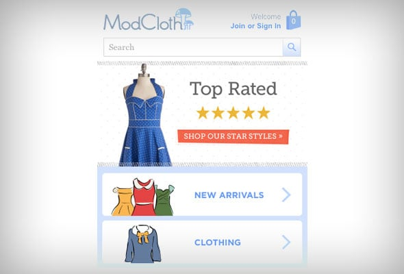 Mod Cloth Mobile eCommerce Website