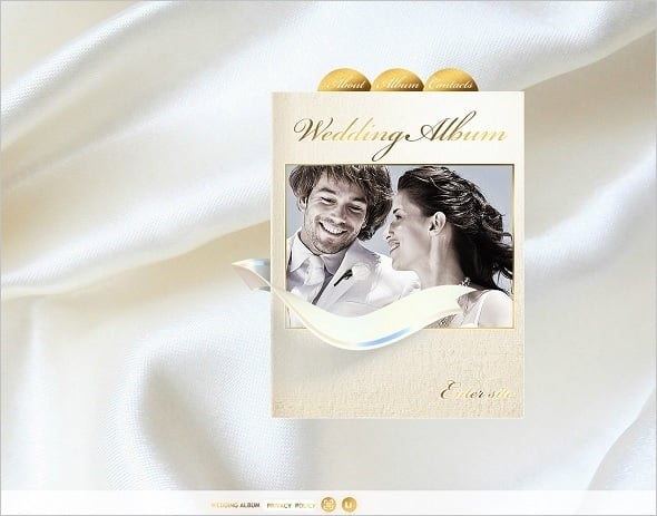 Wedding Album Website Template in Golden Tones