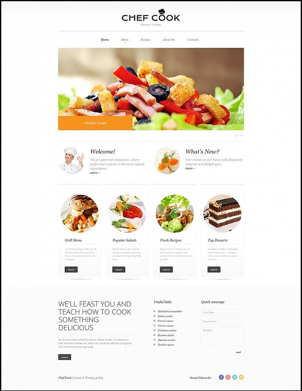 How to make a cooking website 13 delicious designs all moto cms templates allow adding videos to any page the website template below features a fresh video pronofoot35fo Gallery