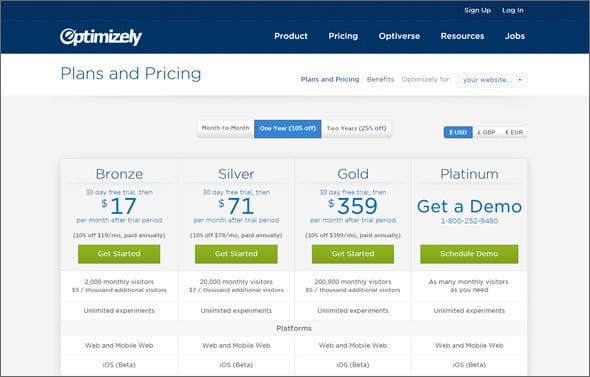 Pricing Page Design- Optimizely