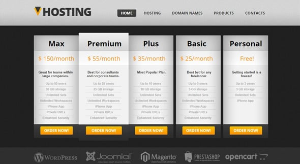 Pricing Page Design - Hosting Website Template