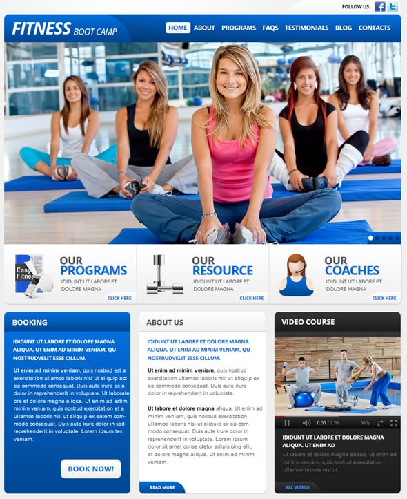 Template to Create Fitness Website
