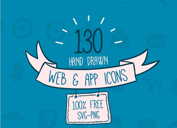 Best Web Design Articles - Freebie: 130 Hand-Drawn Web & App Icons