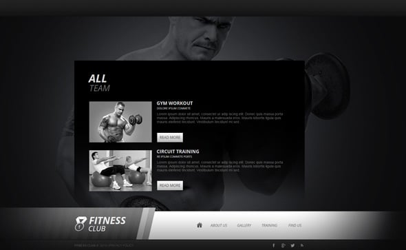 Create a Fitness Website - Monochrome Fitness Website Template