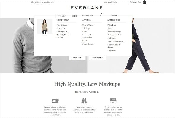 Everlane Website Navigation