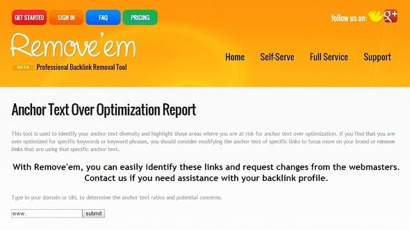 Free SEO Tools - Anchor Text Over Optimization Report