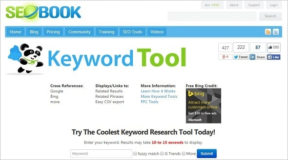 Free SEO Tools - SEO Book Keyword Tool