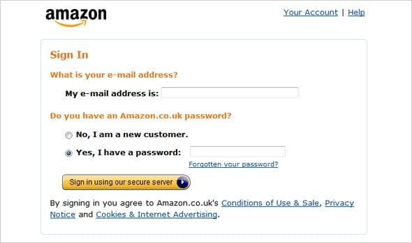login Form Amazon