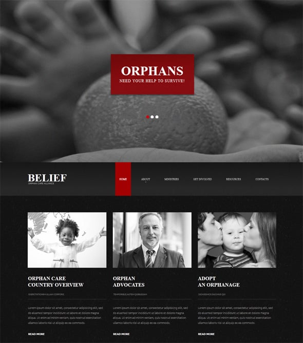 Charity Website Template in Black