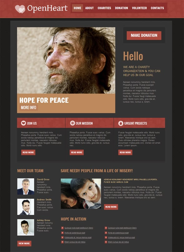 Dark Website Design for Charity