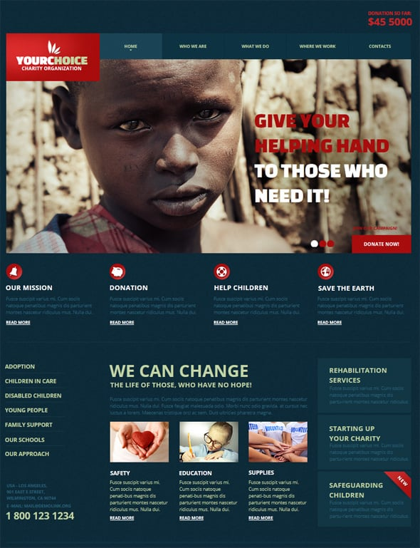 Charity Website Design in Blue