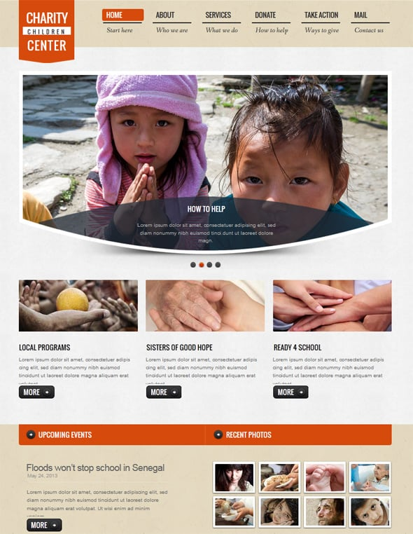 Charity Website Template in Minimalist Style