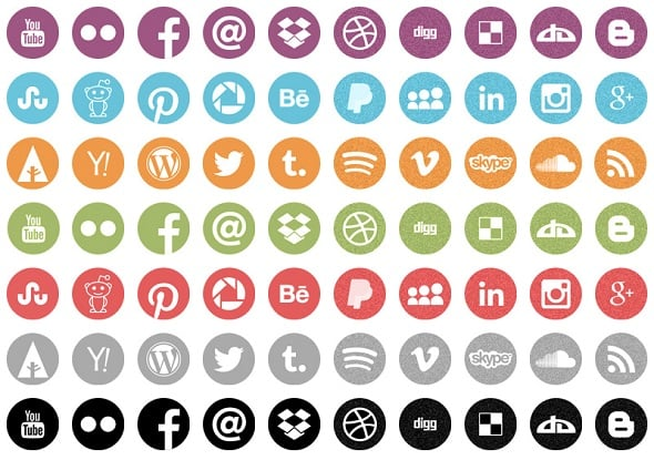 Onextrapixel - Freebie: Round Flat Icons with Noisy Effect in Retro Colors