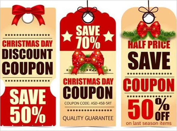 Christmas Day Discount Coupon Label Set