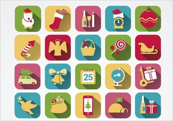 35 Colorful Squared Christmas Icons