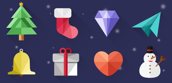 Christmas Icons with Long Shadows