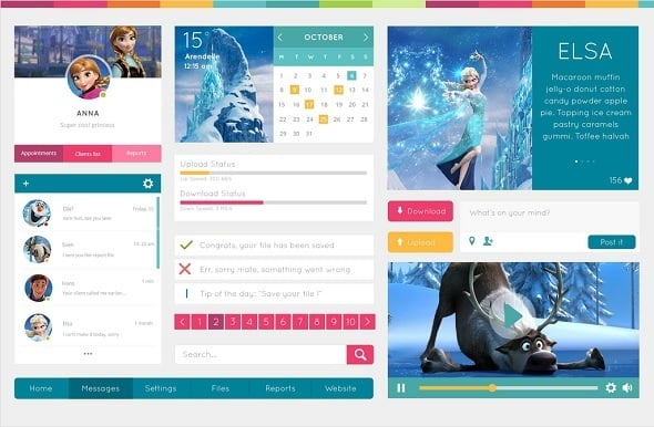 Web design freebies - Frozen-Style UI Kit