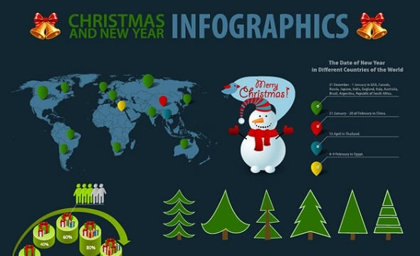 Christmas-Themed Simplistic Infographic Set