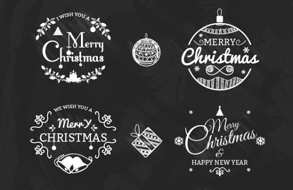 Black-and-White Christmas Badges