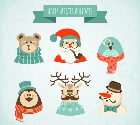 Web Design Freebies - Hipster Christmas Characters