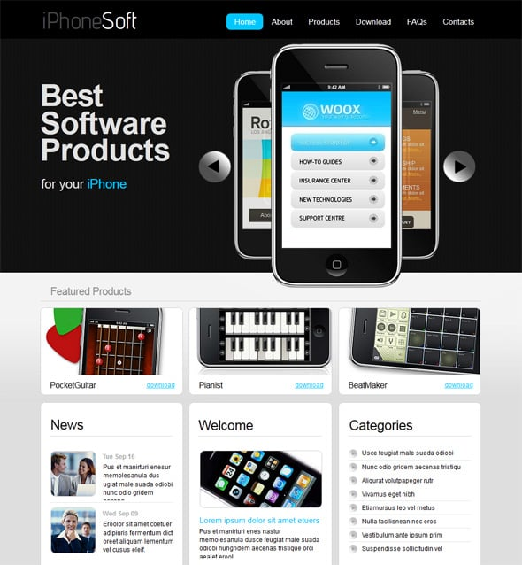 create apps website template 1