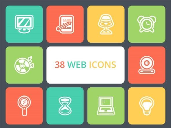 Freebie: 38 Flat Web Icons Pack