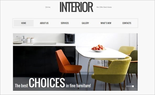 Clean Web Template for Interior Design Studio