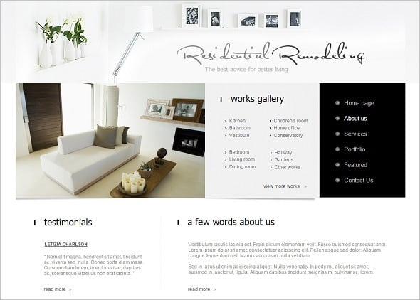 White Interior Design Website Template